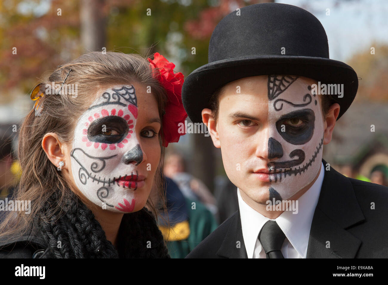 Detroit Michigan Residents Many With Painted Faces Celebrate