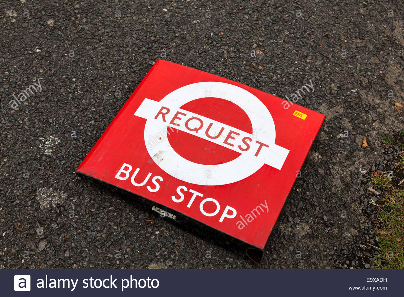 London Transport - Request bus stop sign - Stock Image