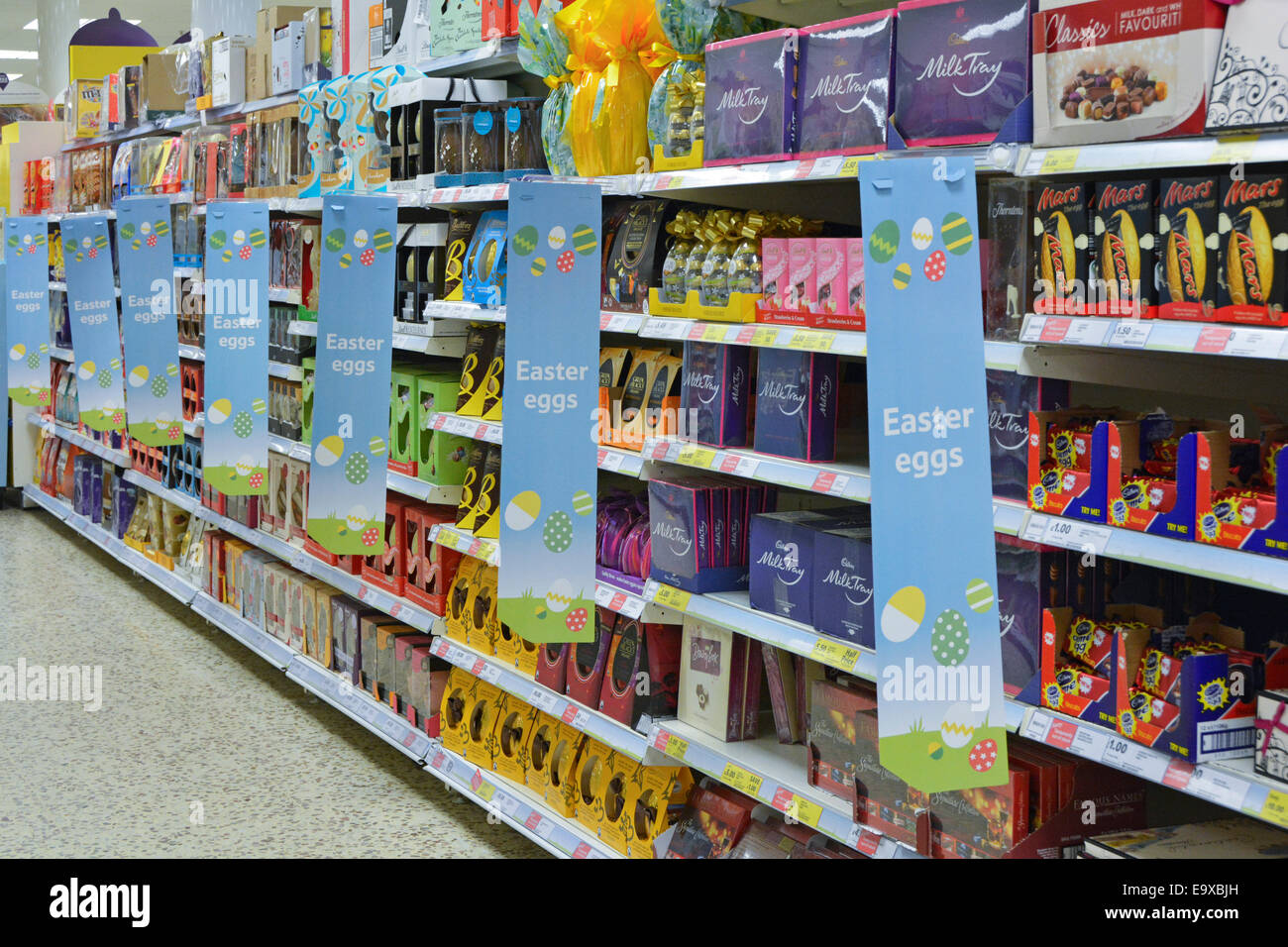Inside tesco store stock photos inside tesco store stock images chocolate easter eggs on sale in large tesco supermarket london england uk stock image negle Gallery