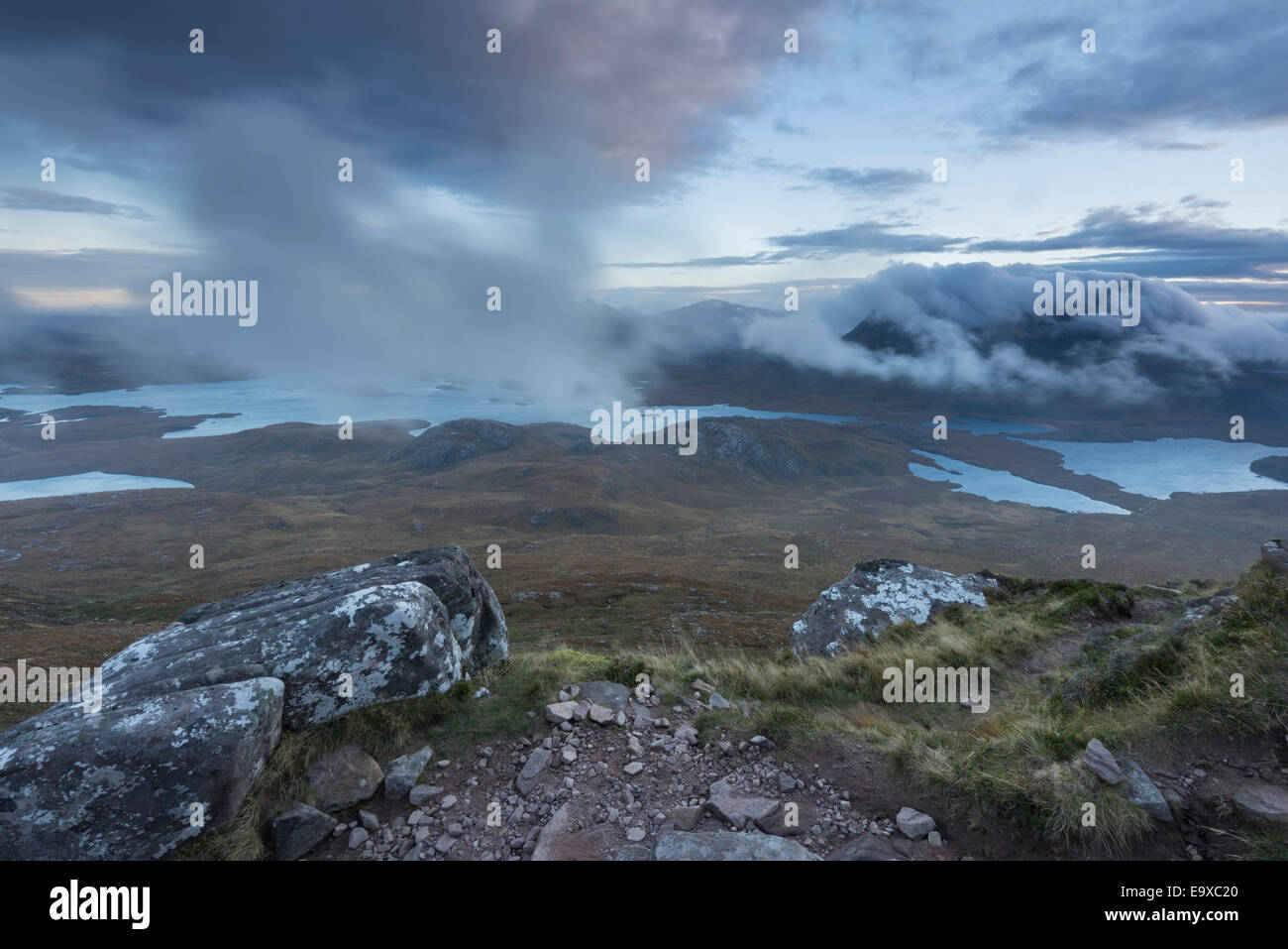 View from Stac Pollaidh over Inverpolly to cloud over Suilven and Cul Mor, Assynt, Sutherland, north west Scotland - Stock Image