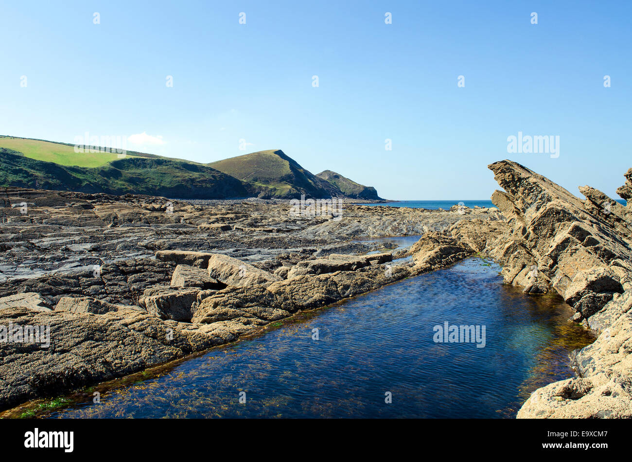 The rocky beach at Crackington Haven in North Cornwall, UK - Stock Image