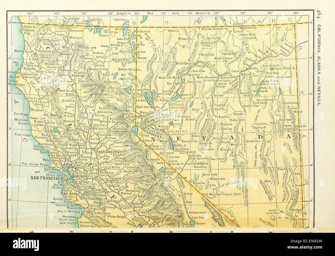 US-MAPS(1891) p466 - MAP OF CALIFORNIA, NEVADA AND ALASKA (l ...