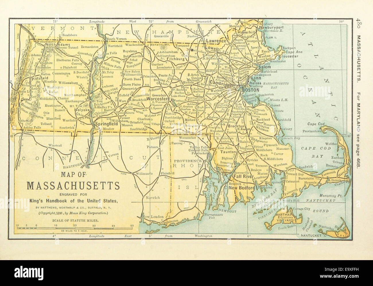 Us Maps1891 P482 Map Of Massachusetts Stock Photo 74956325 Alamy - Massachusetts-on-the-us-map