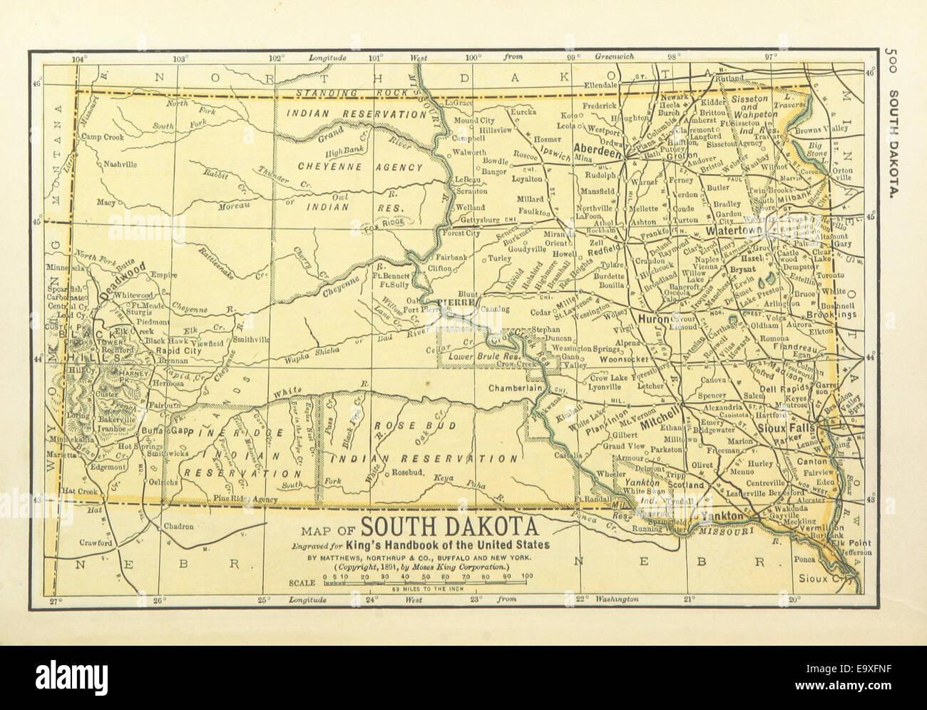 Us Maps 1891 P502 Map Of South Dakota Stock Photo 74956491 Alamy