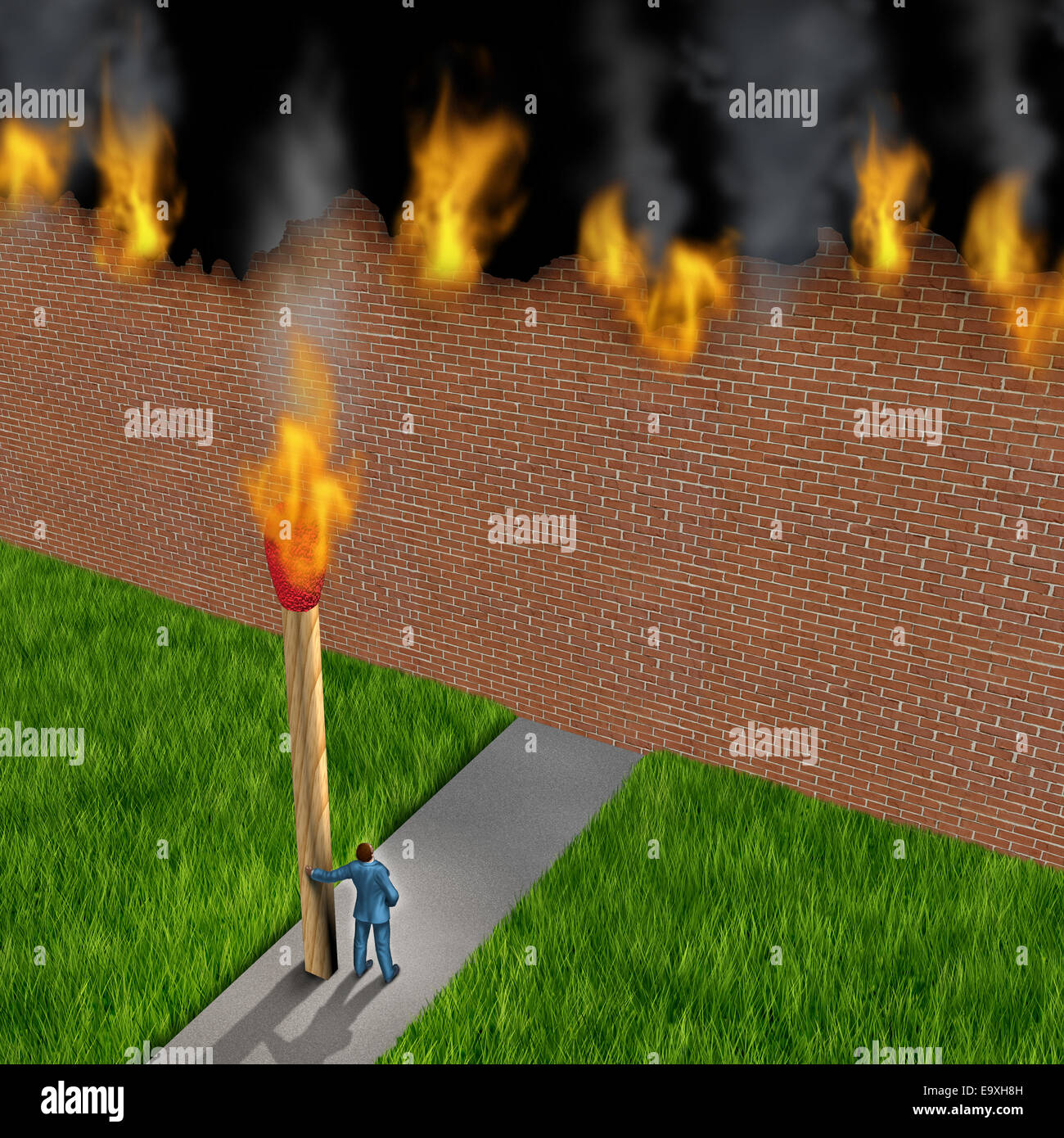 Escape concept as a businessman holding a giant ignited match burning down a brick wall made of paper as a success - Stock Image