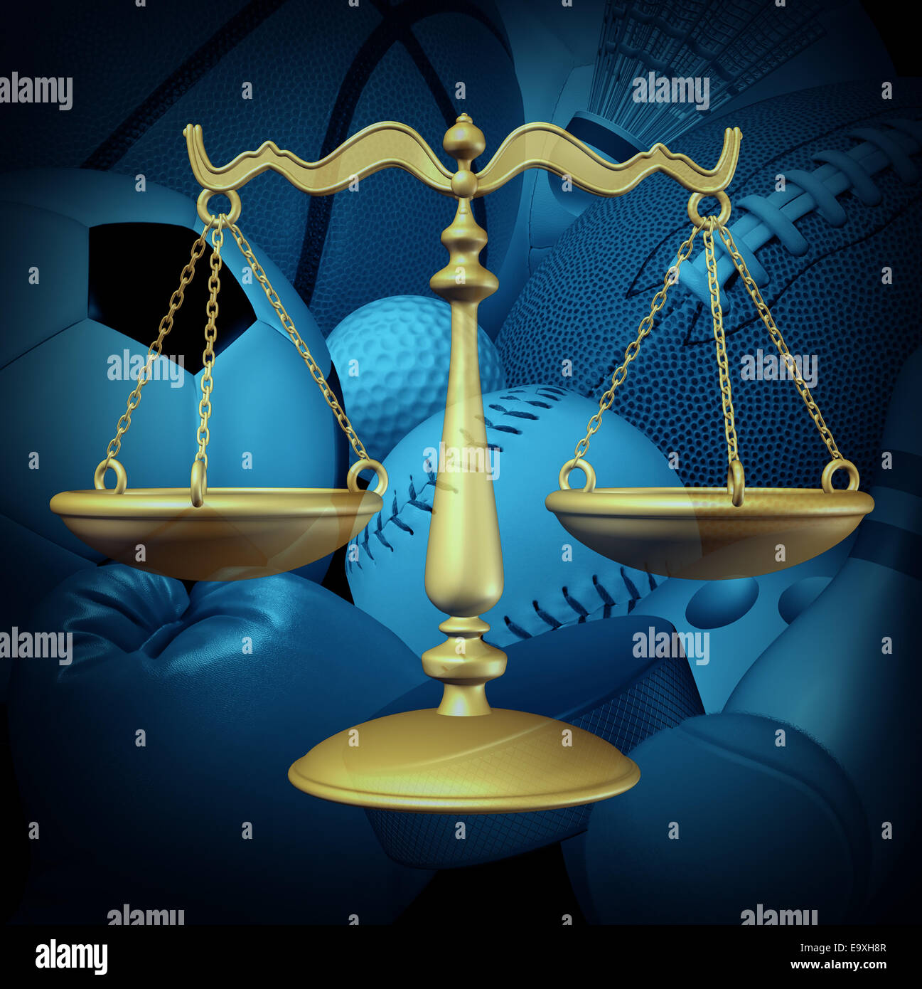 Sports law concept with sport equipment and a legel scale of justice symbol as an icon for amateur and professional - Stock Image