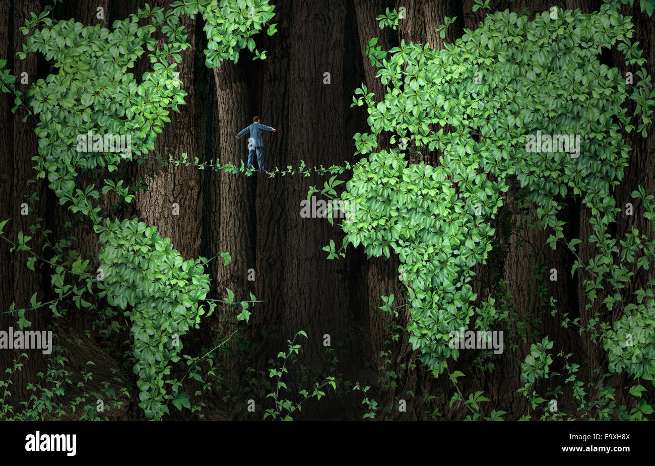 Global growth risk business concept as a businessman walking on a tightrope made from plant vines in a background - Stock Image