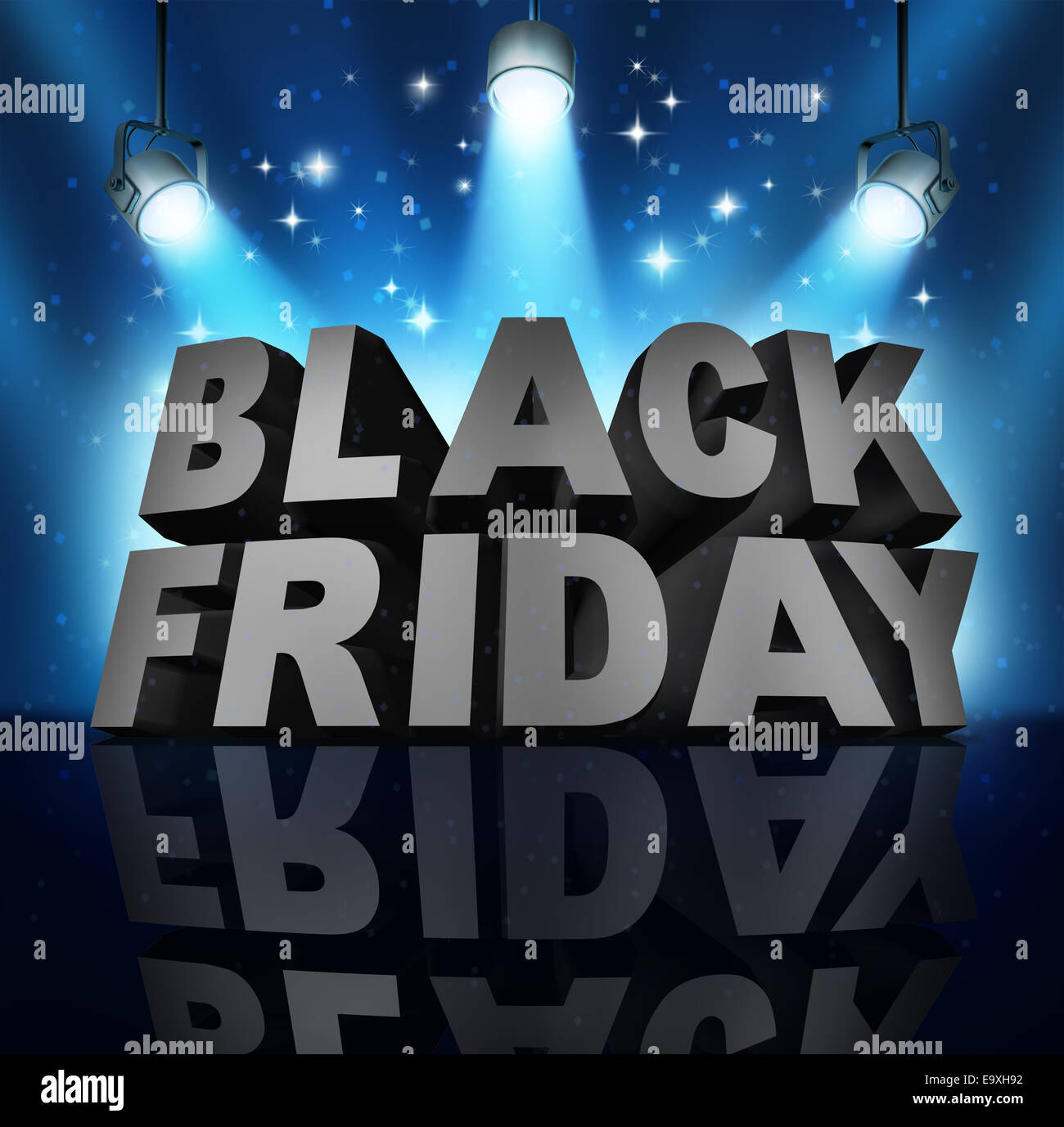 Black friday sale banner sign as three dimensional text on a stage with spot lights and sparkles as a party to celebrate - Stock Image