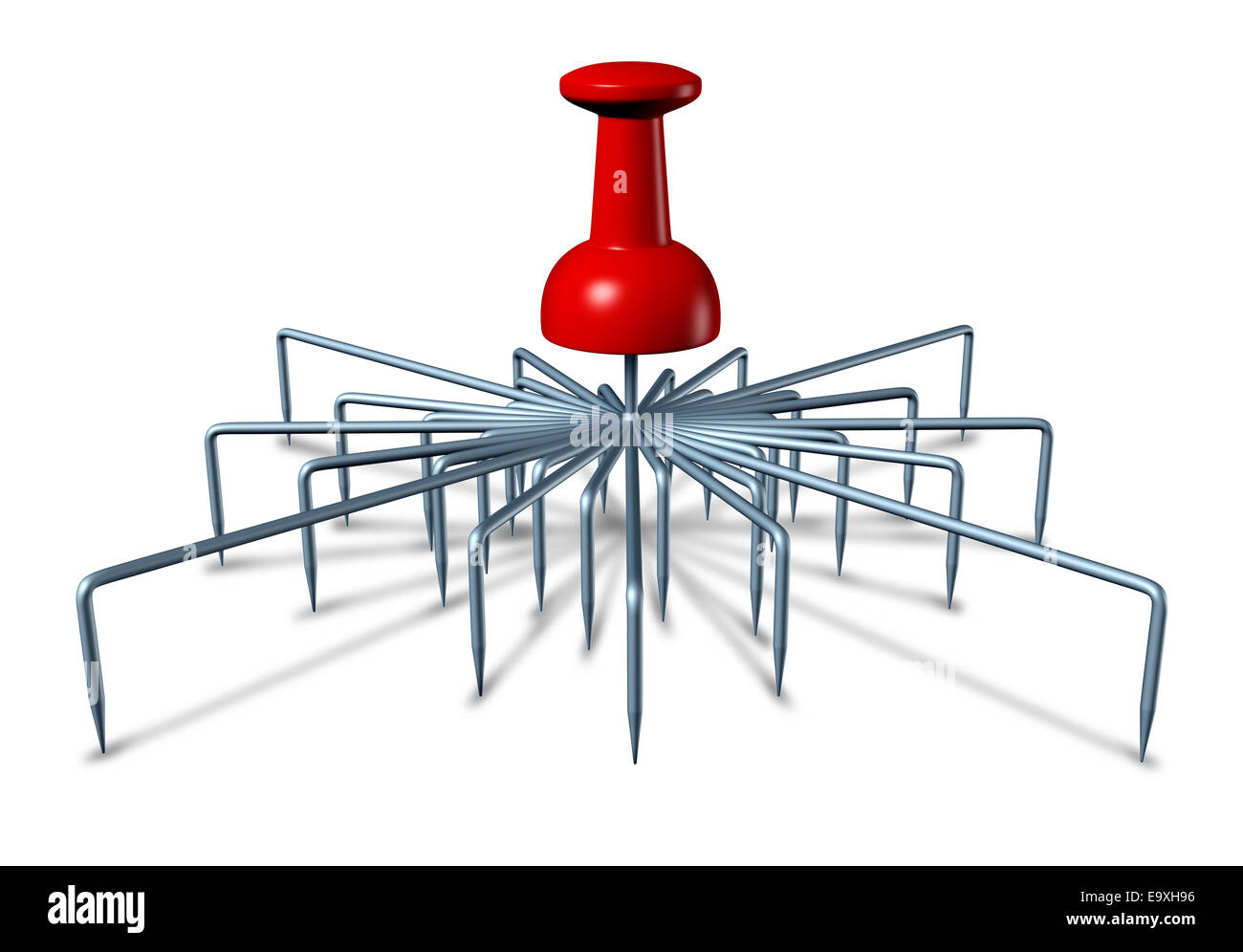 Cover all bases concept and taking advantage of multiple opportunities as a red office thumbtack pin object with - Stock Image