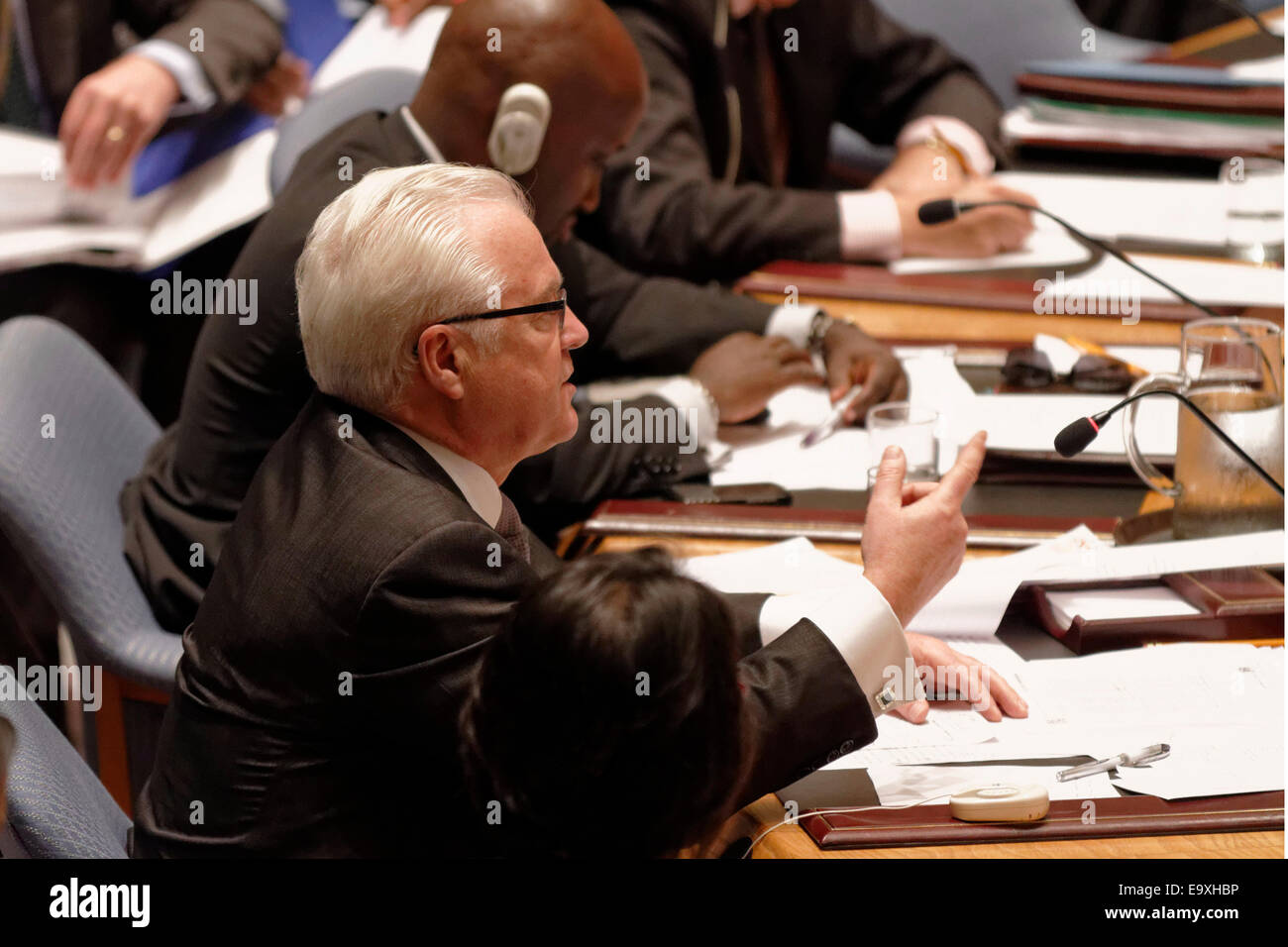Russia's Ambassador to the UN Vitaly Churkin addresses the Security Council during the meeting on the downing - Stock Image
