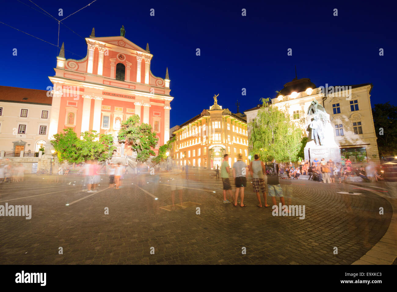 Night view of Preseren Square, Ljubljana, Slovenia - Stock Image
