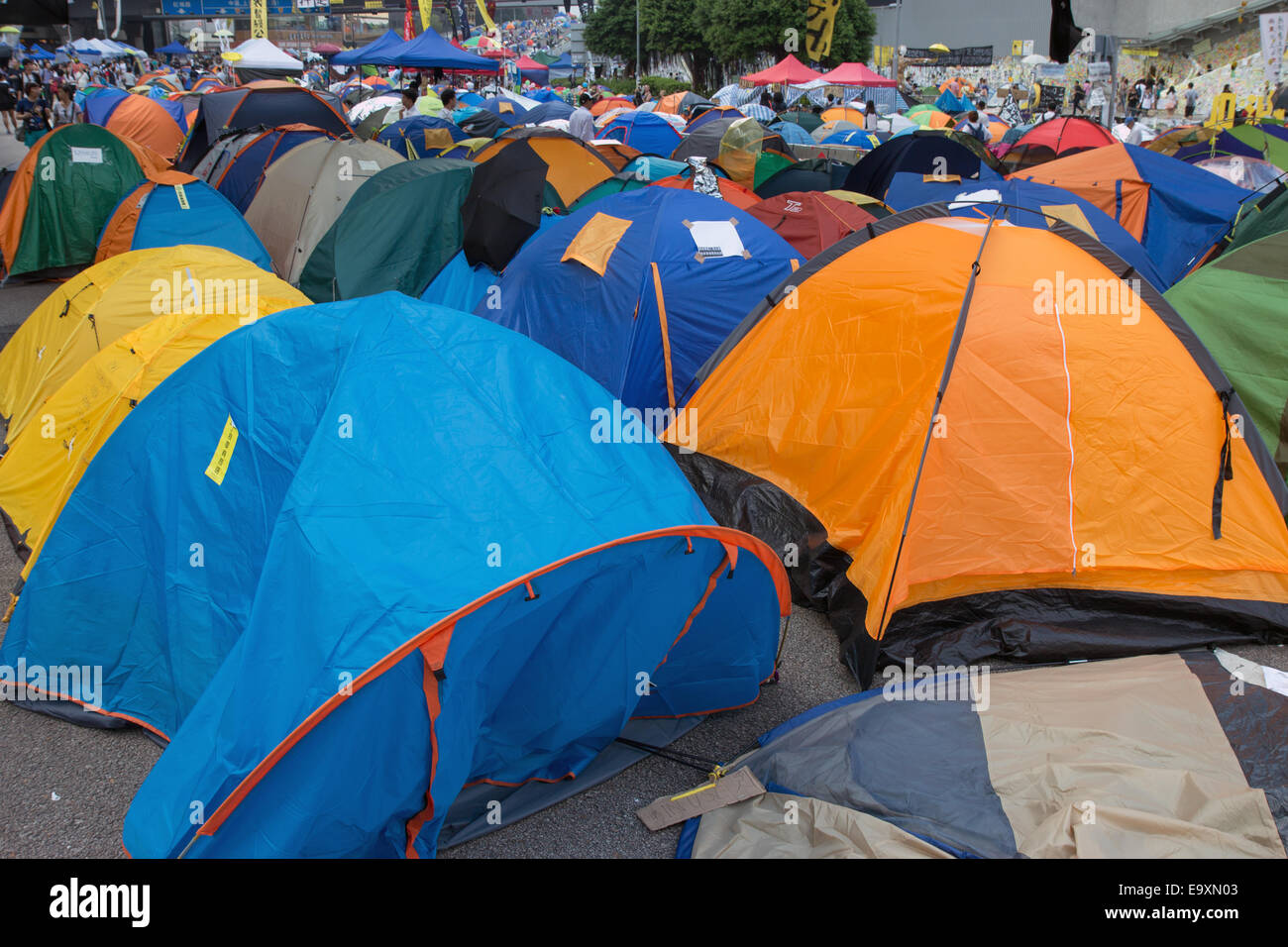 Tents on the road - Hong Kong Protests - Stock Image