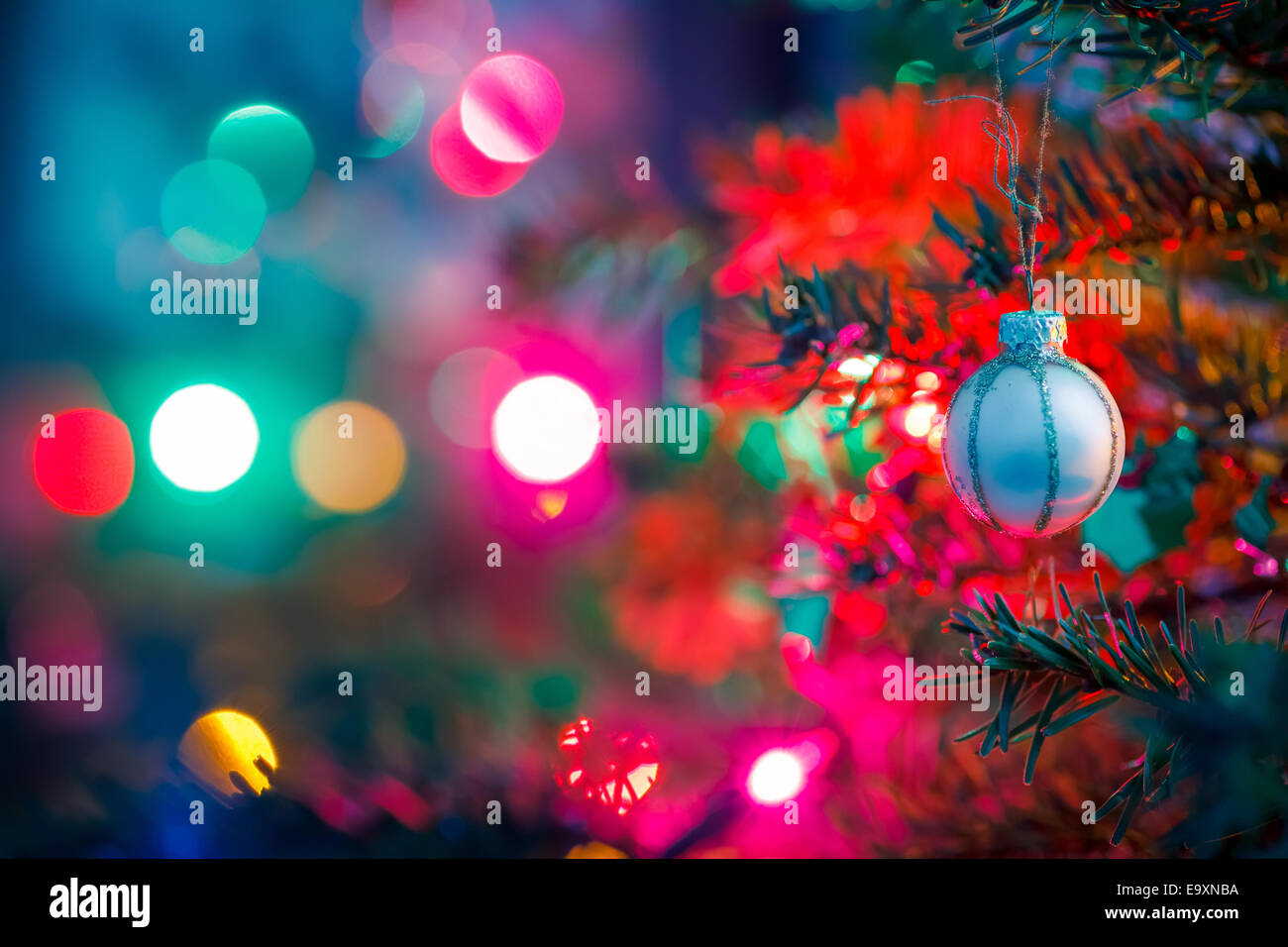Decorated x-mas tree - Stock Image