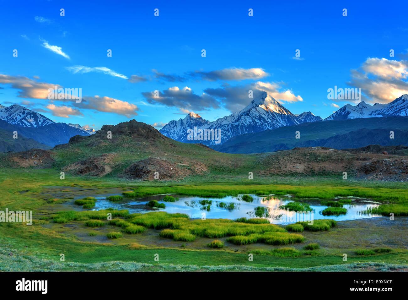 himalayas lake in summer time - Stock Image