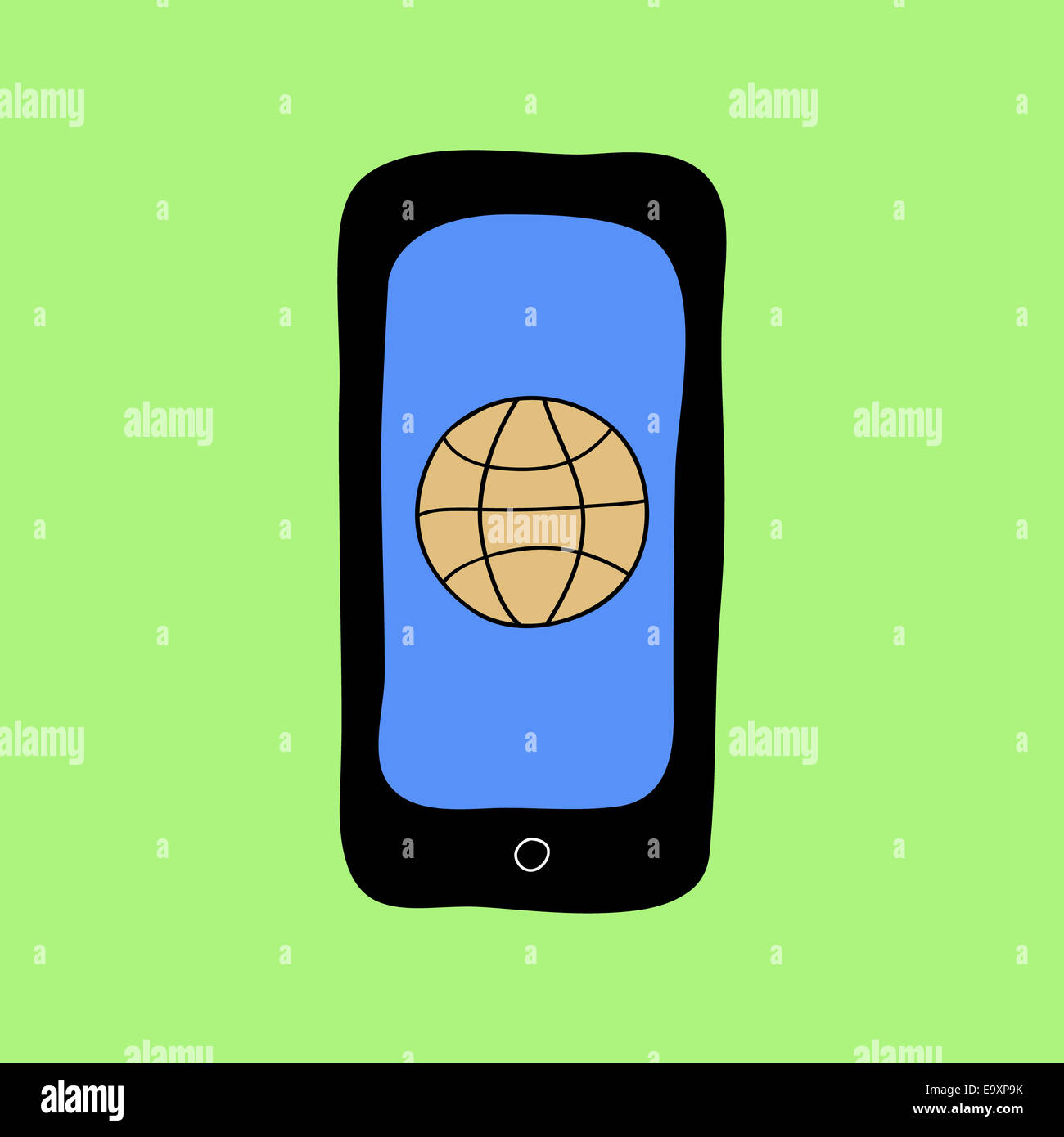 Doodle style phone with web browser - Stock Image