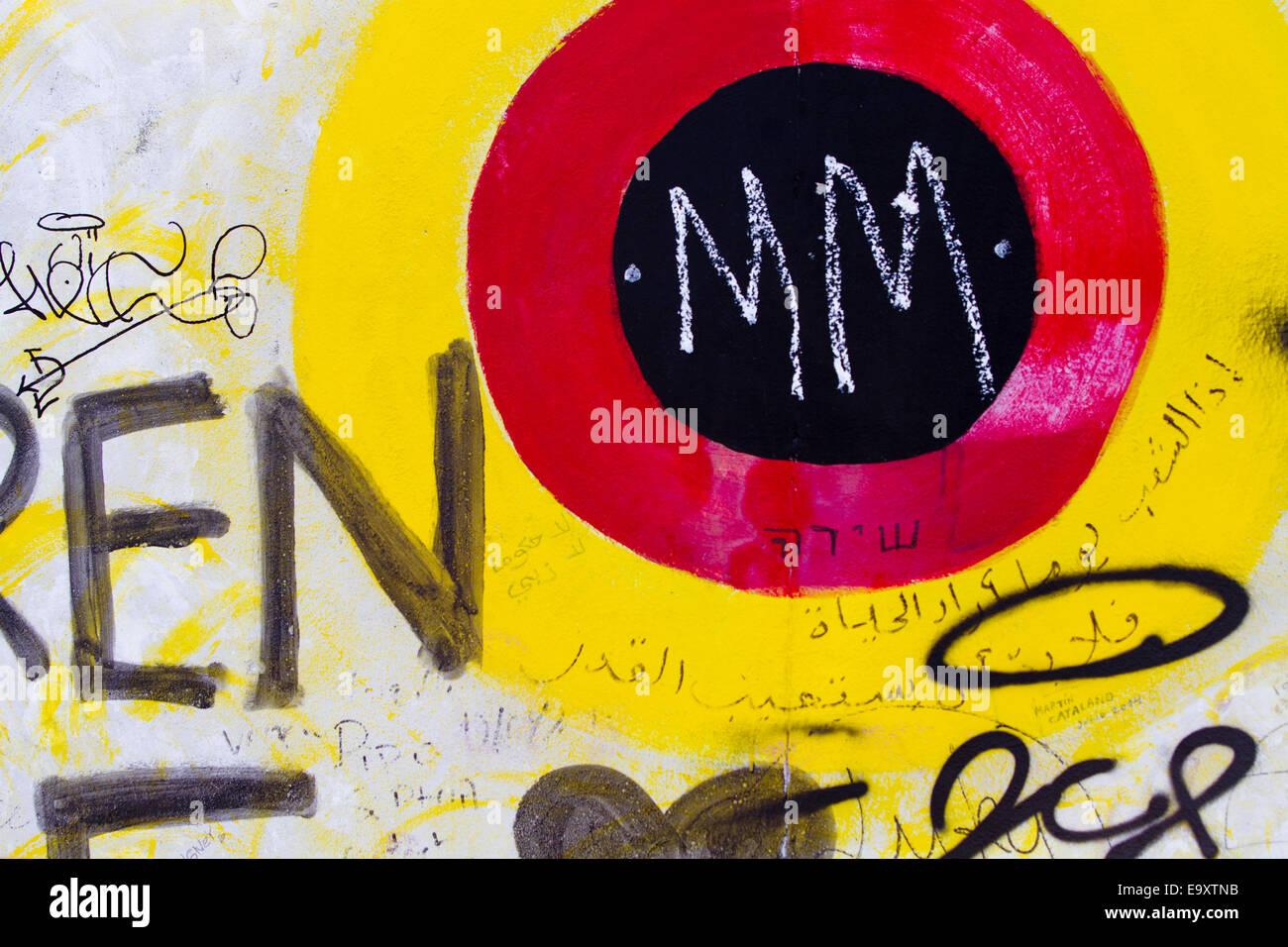 Berlin Wall Graffiti cartoon colourful target m m Stock Photo ...