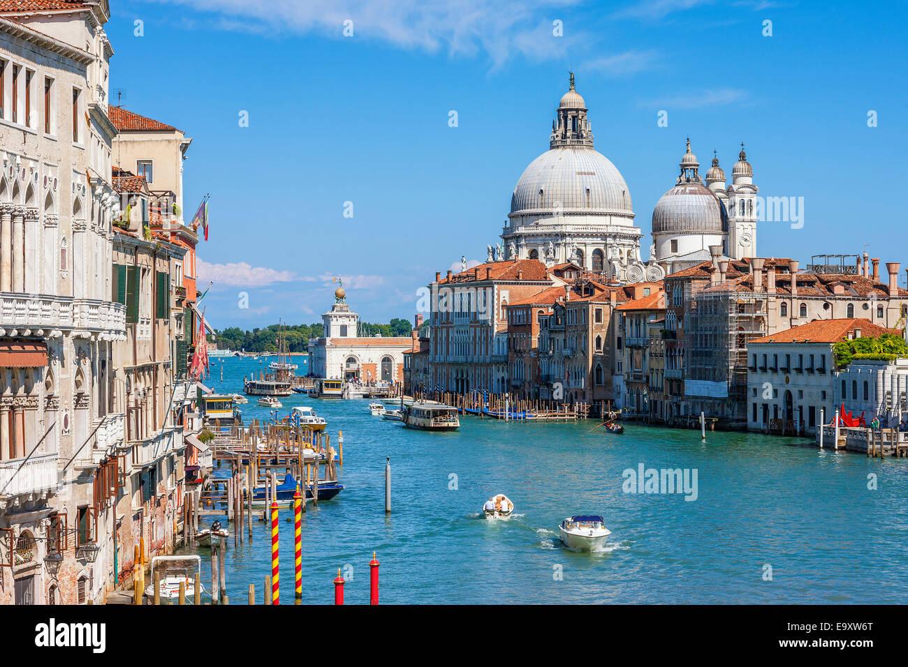 Canal Grande with Basilica di Santa Maria della Salute in the background, Venice, Italy - Stock Image