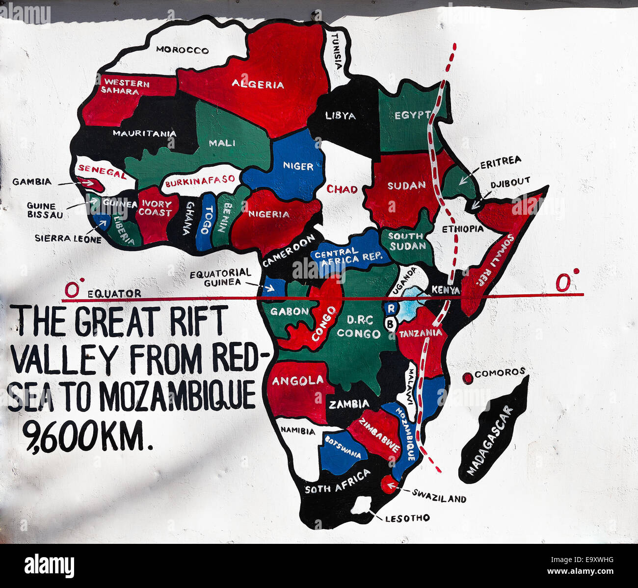 Sign post for the Great Rift Valley in Kenya, Africa. The Great Rift Valley is a continuous geographic trench that Stock Photo