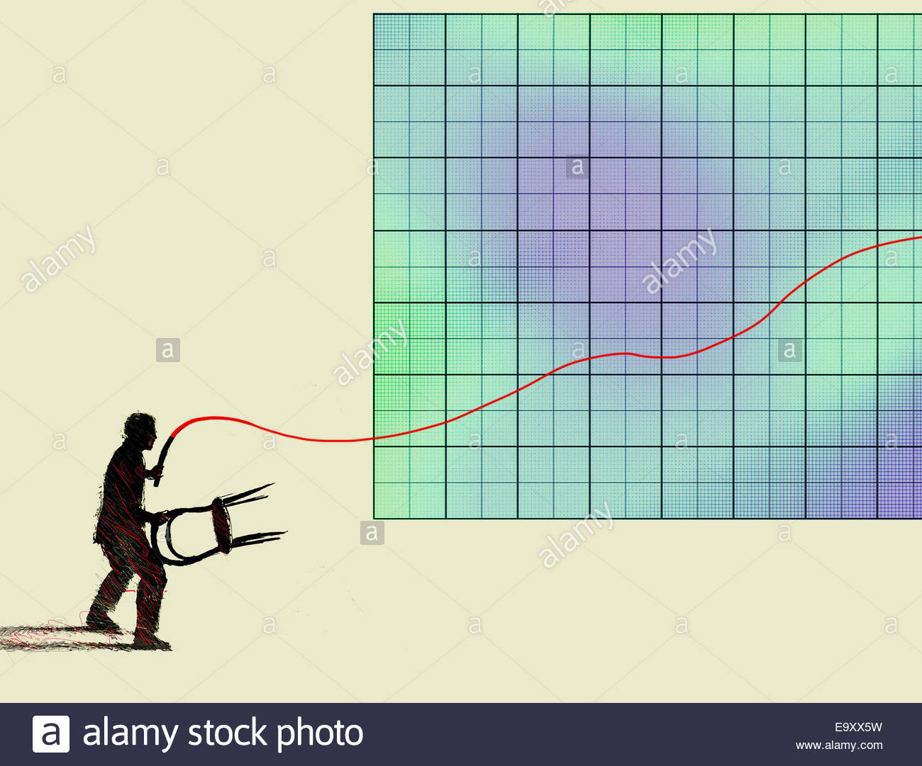 Businessman lion tamer controlling line graph with whip - Stock Image