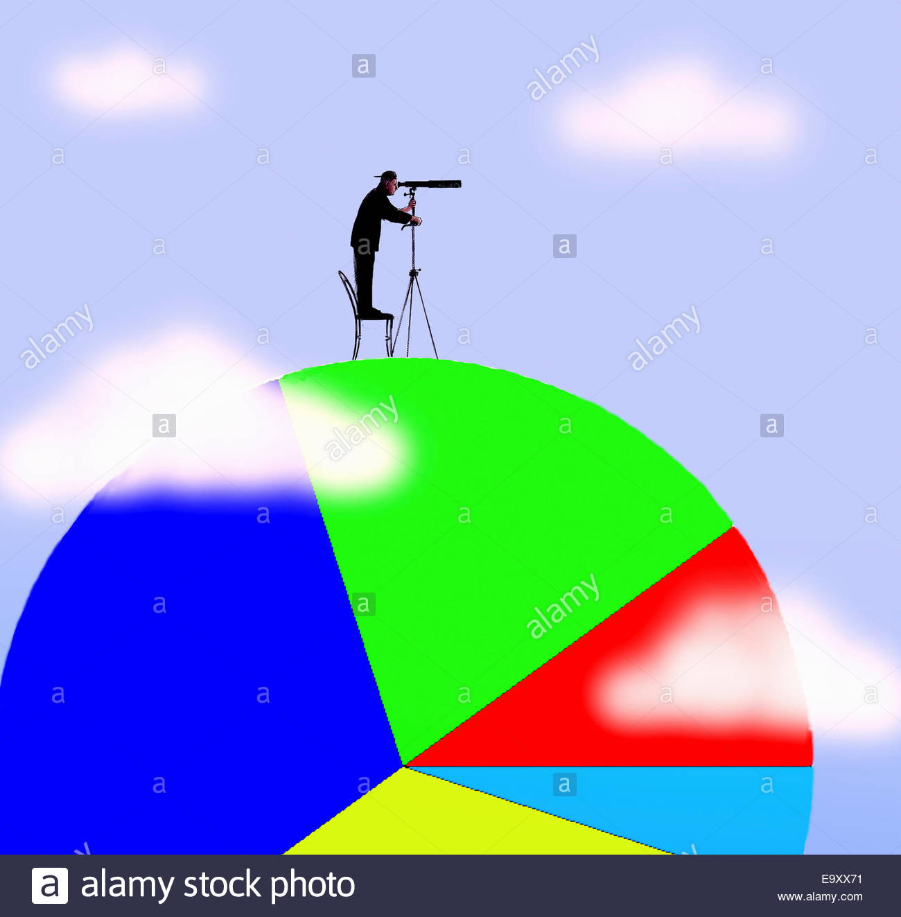 Man looking through telescope standing on top of large pie chart - Stock Image