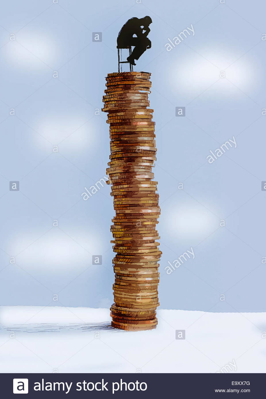 The Thinker sitting on top of pile of money - Stock Image