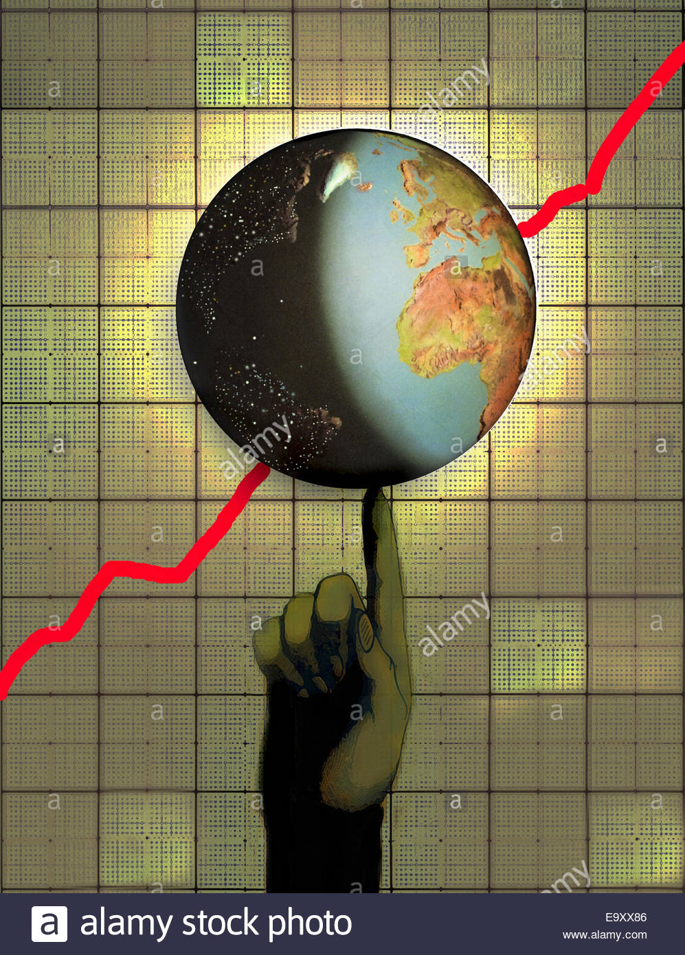 Globe with ascending line graph balancing on finger - Stock Image
