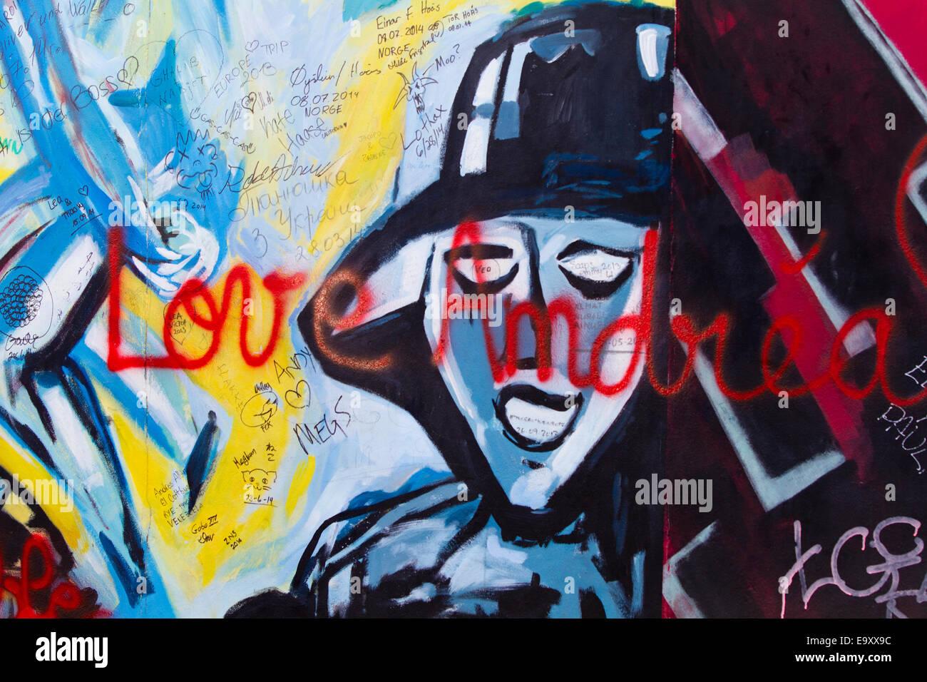 Graffiti Berlin Wall Womans Face Love Andrea Dark Stock Photo