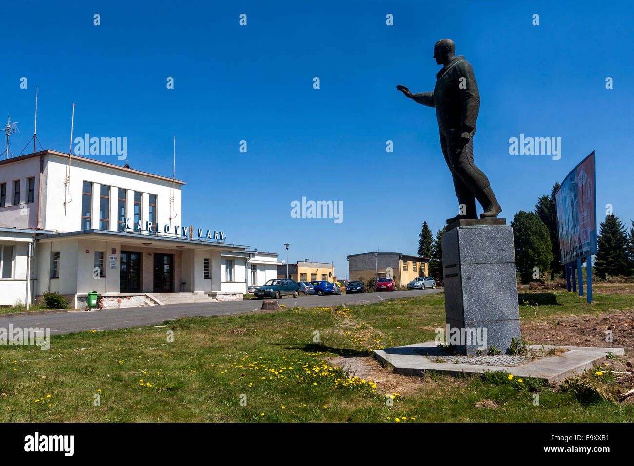The first cosmonaut in the World Yuri Gaga,rin, Airport in Karlovy Vary Czech Republic - Stock Image