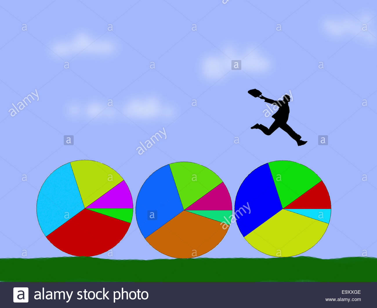 Businessman jumping over row of pie charts Stock Photo