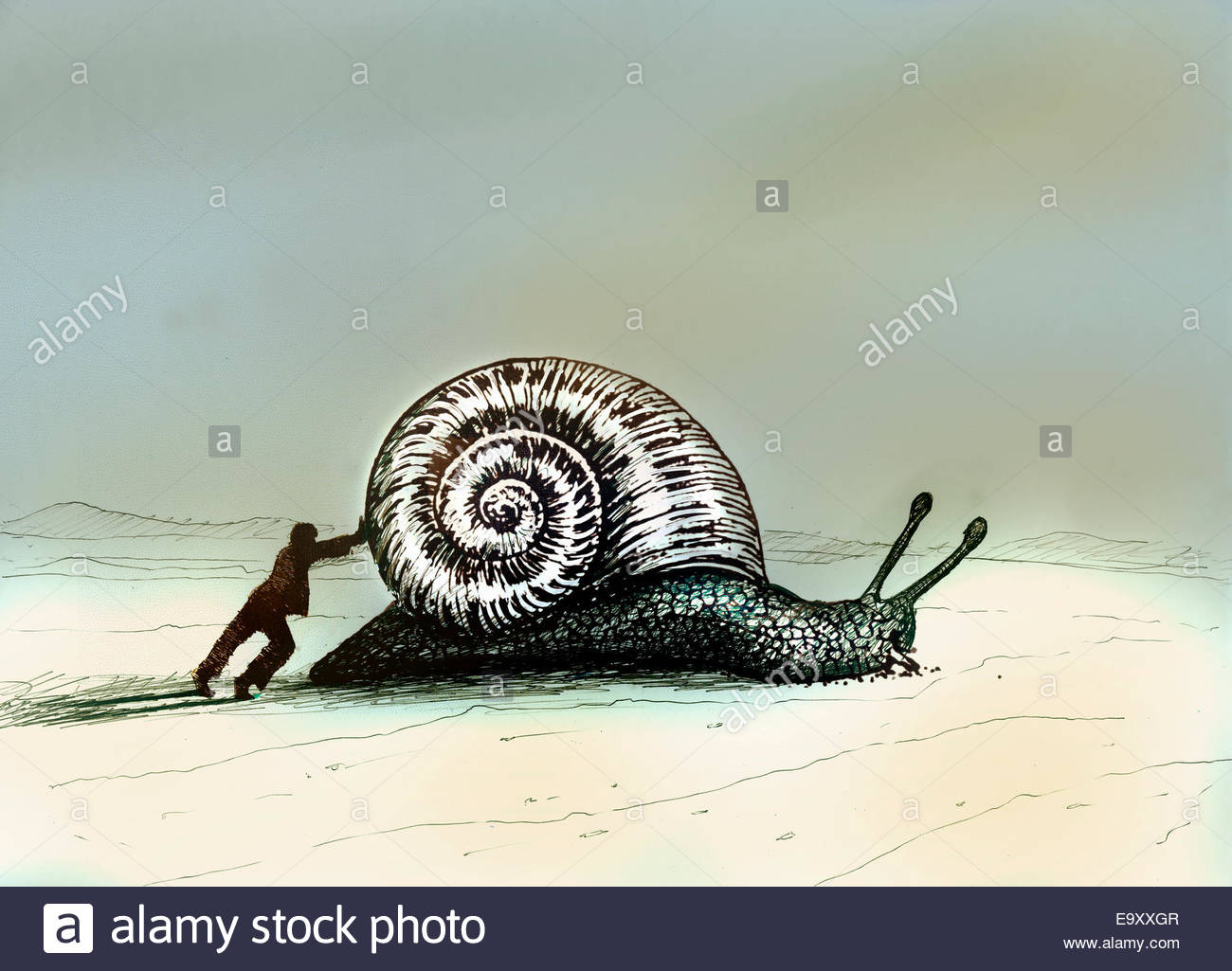 Man pushing enormous snail - Stock Image