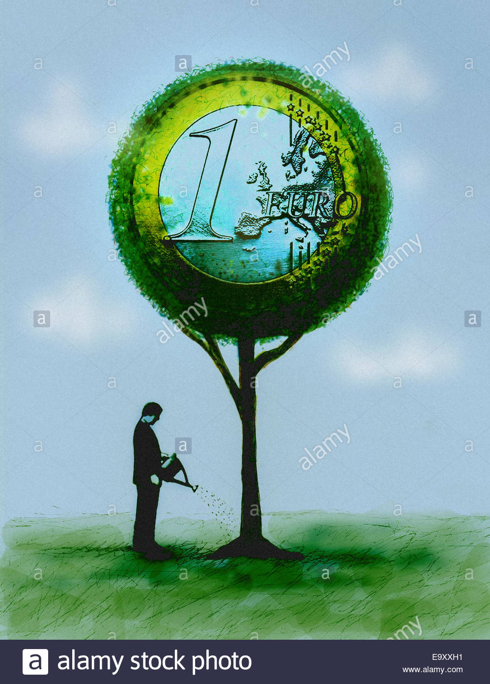 Businessman watering Euro coin money tree - Stock Image