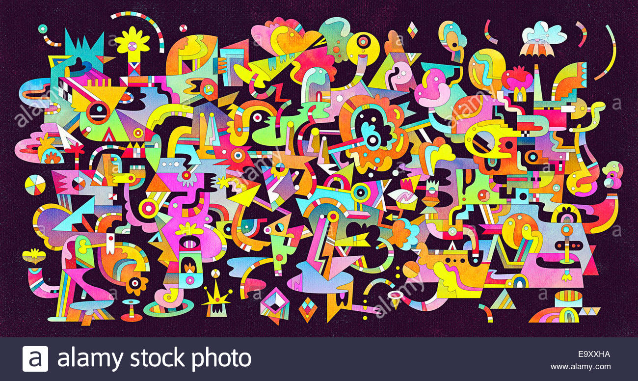 Abstract bright color complex connection pattern - Stock Image
