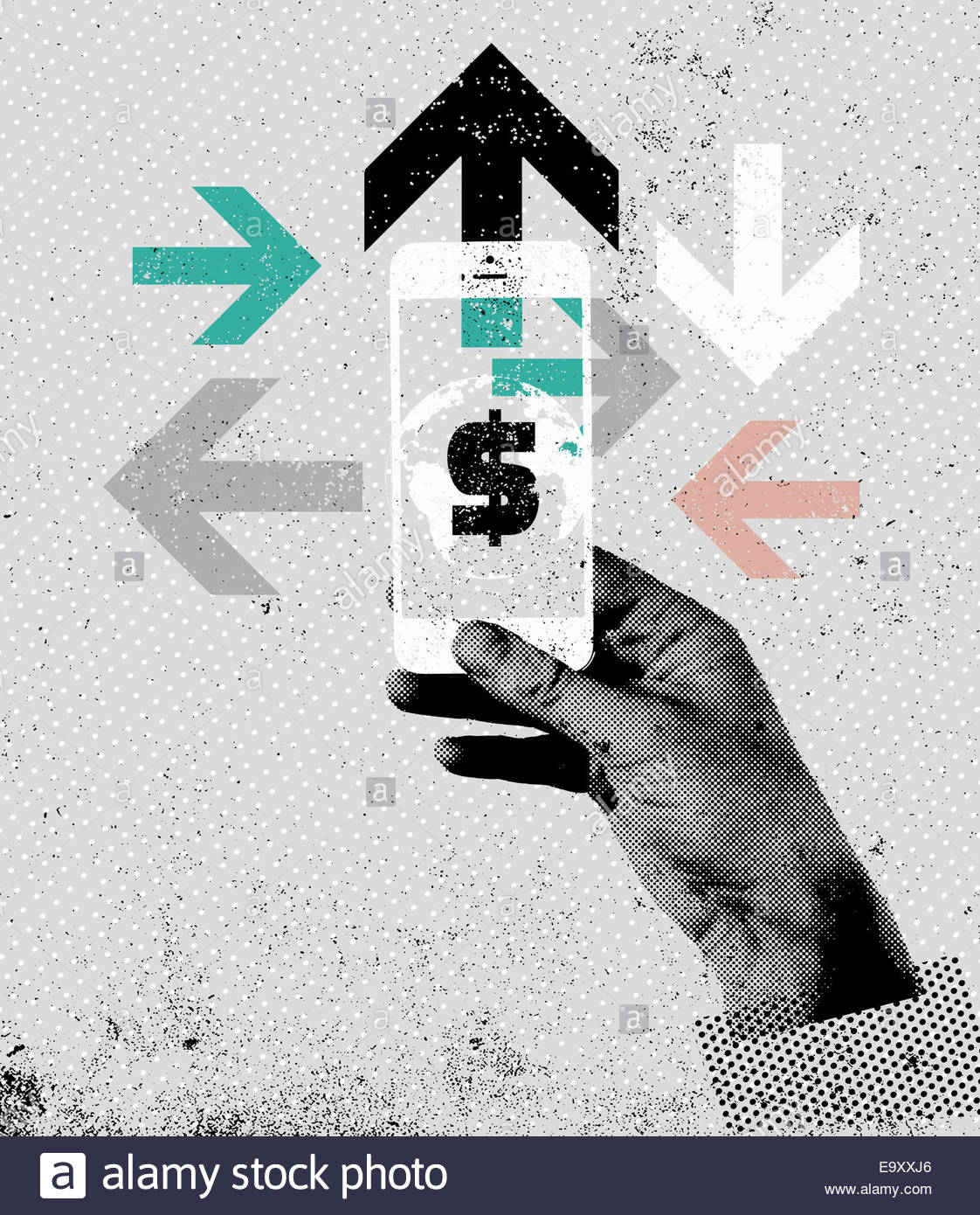 Hand using smart phone accessing global finance - Stock Image