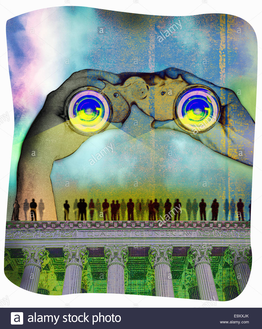 Hands holding large binoculars over people standing on top of Supreme Court building Stock Photo