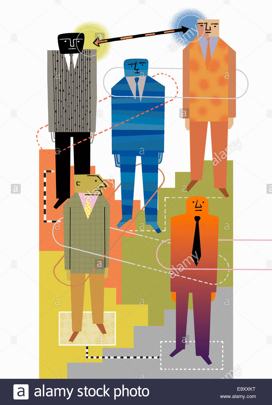 Connections between hierarchy of businessmen - Stock Image