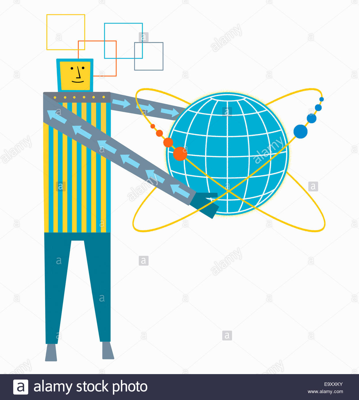 Man connected to globe with orbiting spheres - Stock Image