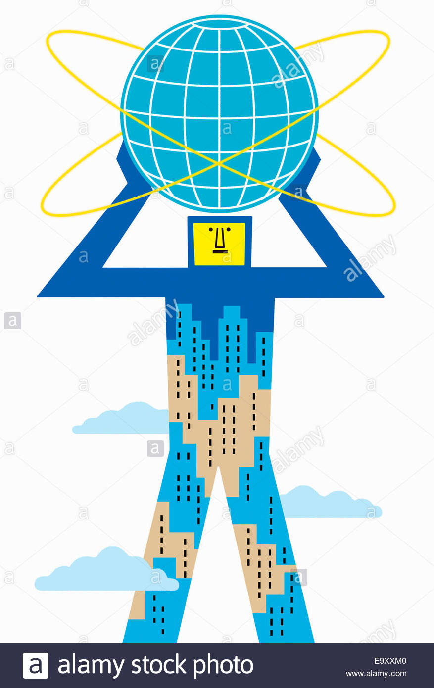 City skyscraper man holding globe above head - Stock Image