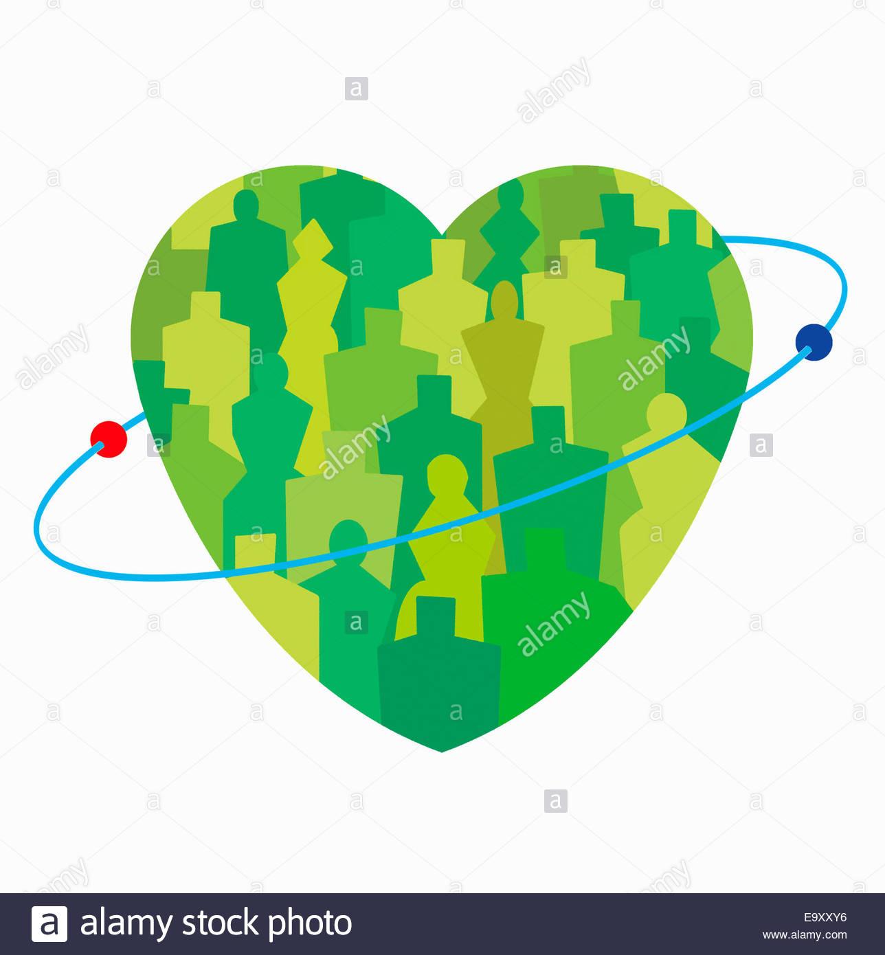 Spheres orbiting green crowd inside of heart - Stock Image