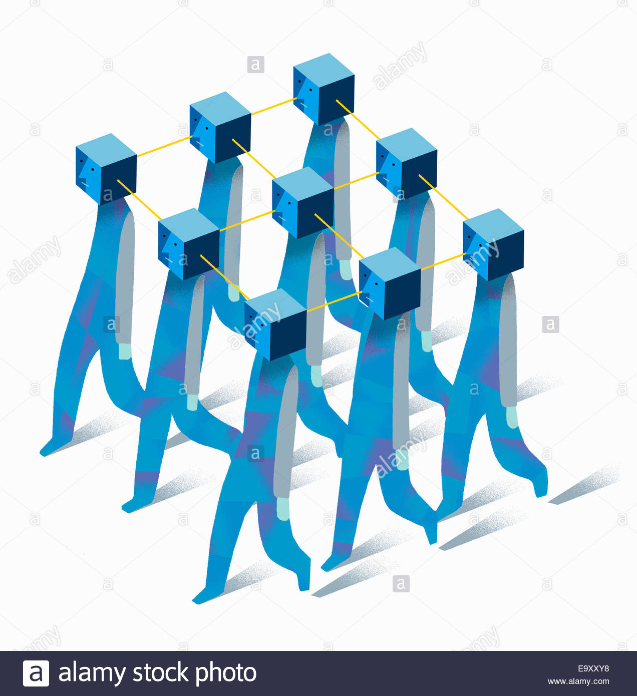 Unhappy connected identical men marching in formation - Stock Image