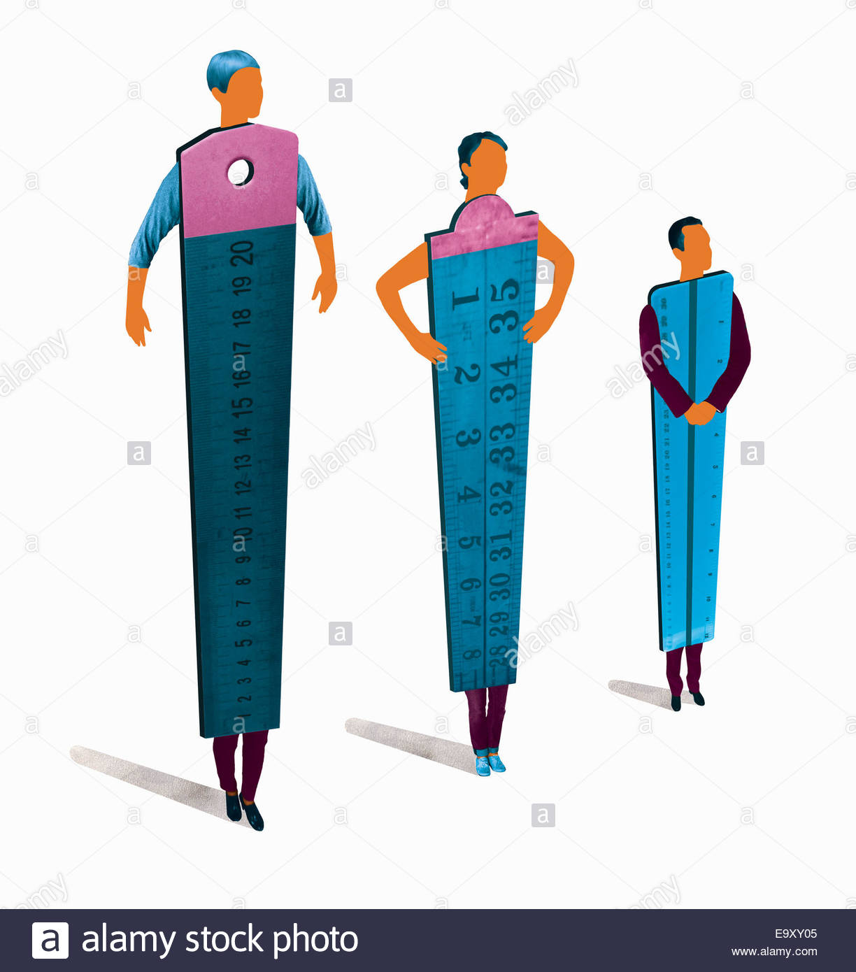 Business people rulers standing in hierarchy order - Stock Image