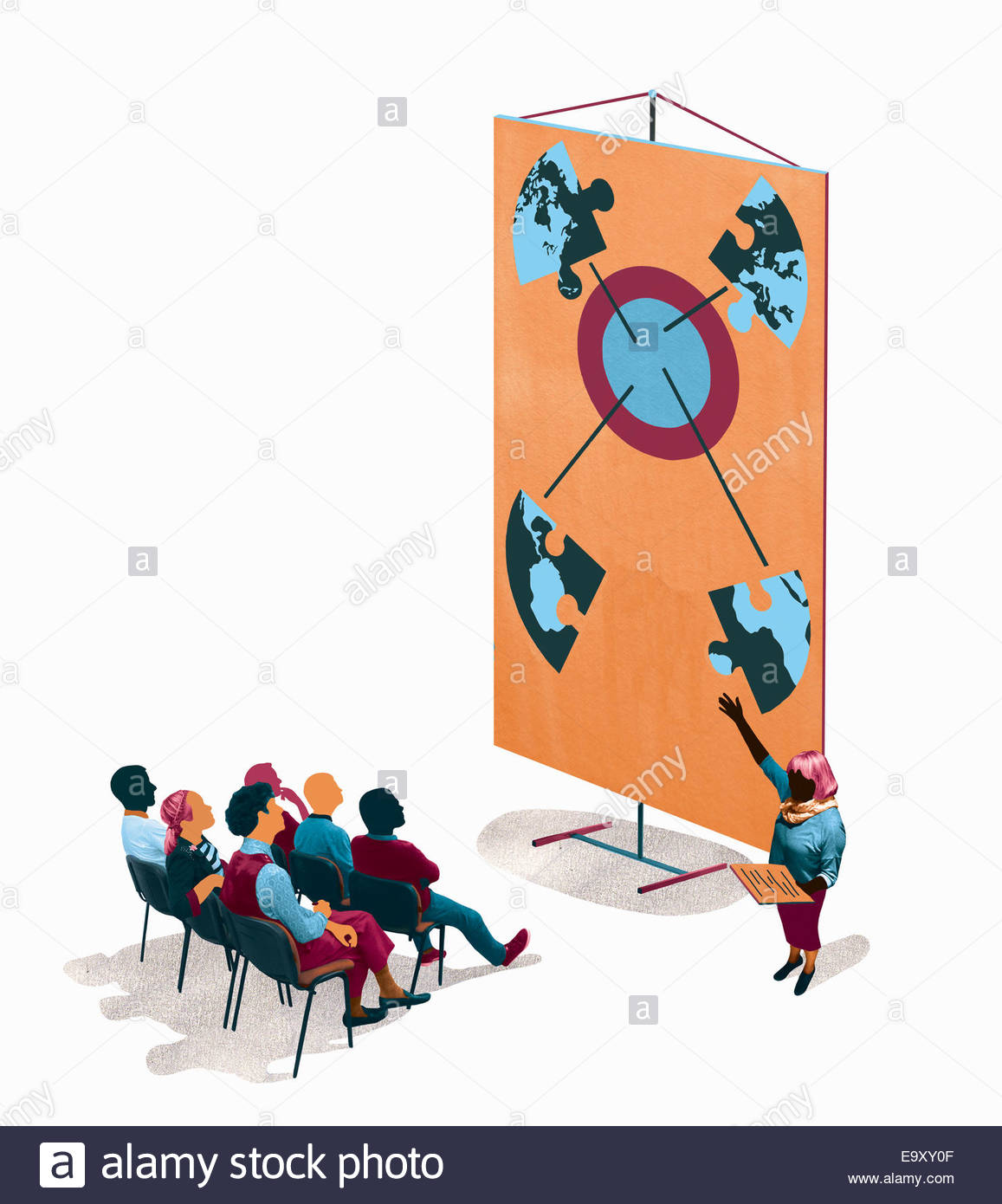 Presentation with businesswoman explaining global target connection chart to audience - Stock Image