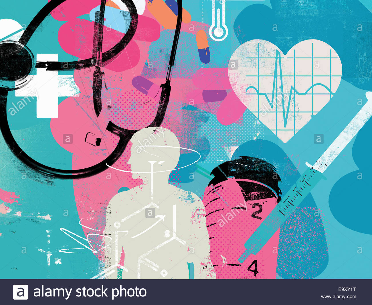 Healthcare and medicine collage - Stock Image
