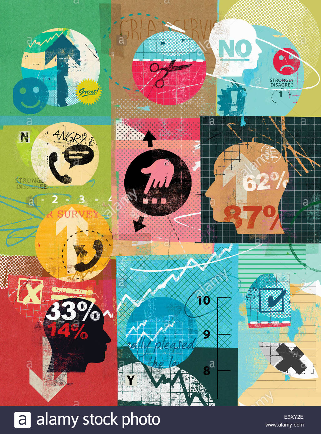 Collage of market research questionnaire surveys - Stock Image