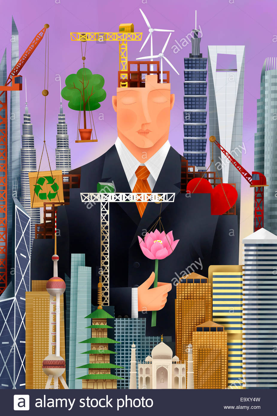 Serene businessman surrounded by environmental conservation symbols, international landmarks and building construction - Stock Image