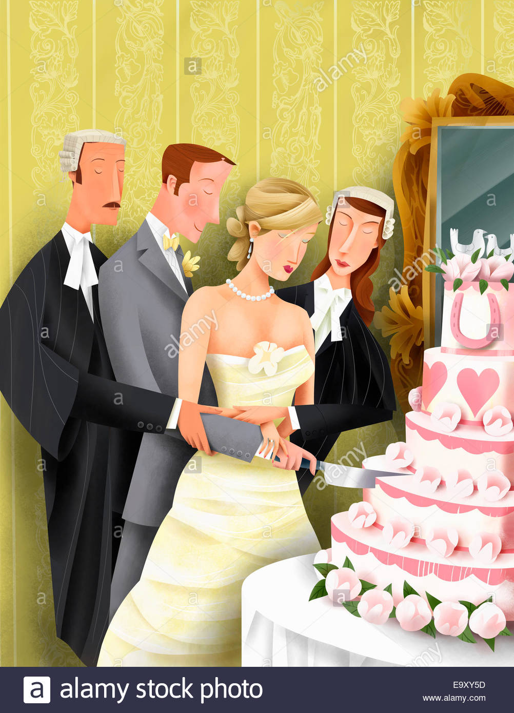 Attorneys helping bride and groom cut into wedding cake - Stock Image