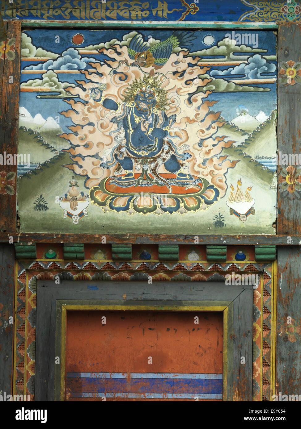 Gate of Tamshing Monastery, Chokhor Valley, Bumthang District, Bhutan - Stock Image