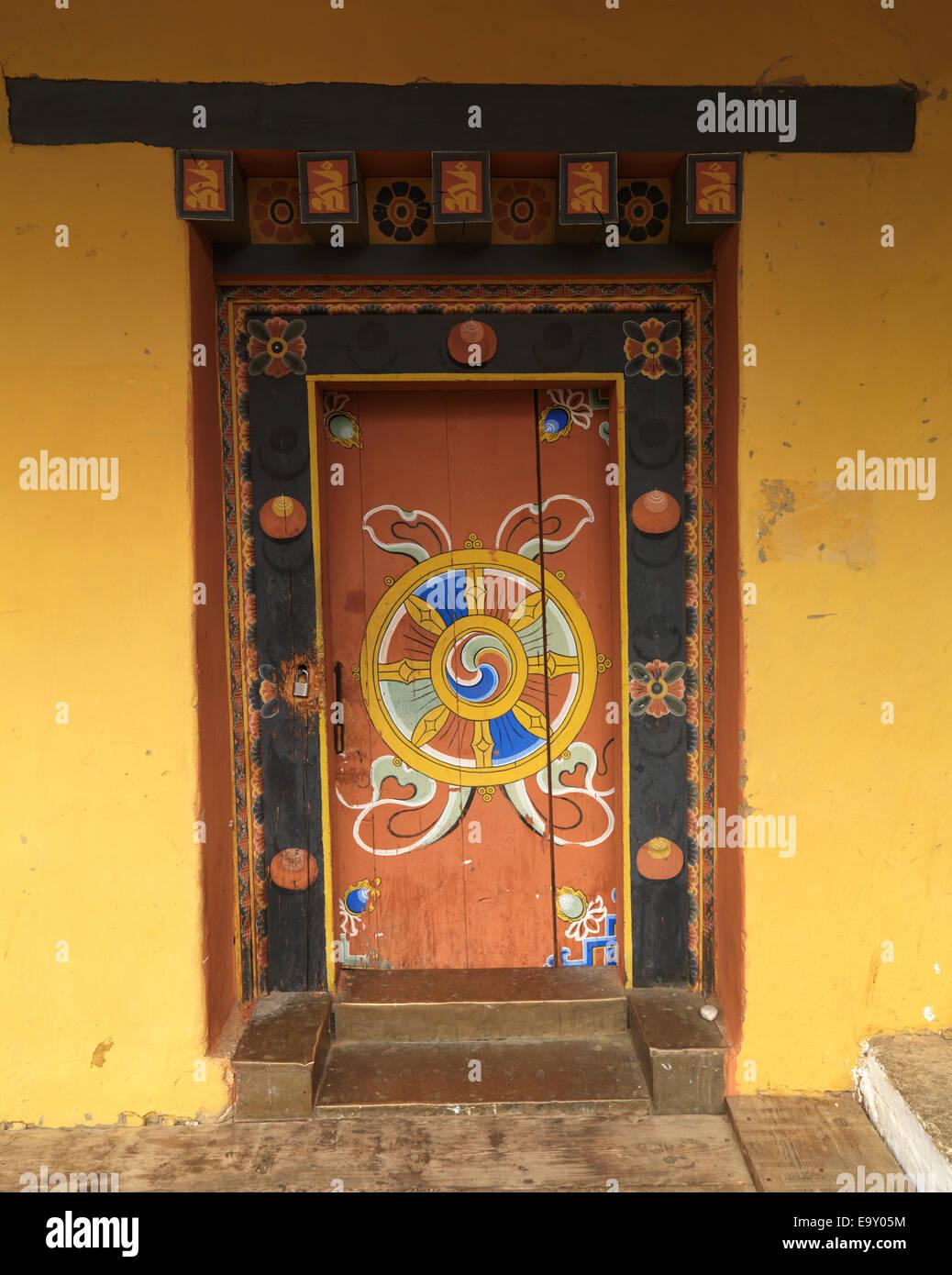 Entrance gate of the Punakha Monastery, Punakha, Bhutan - Stock Image