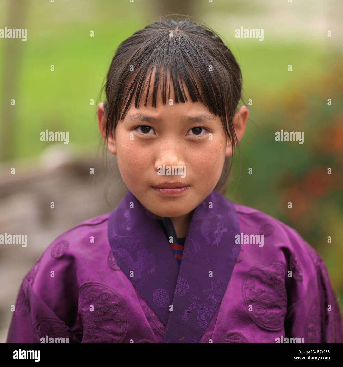 Close-up of a girl, Chokhor Valley, Bumthang District, Bhutan - Stock Image