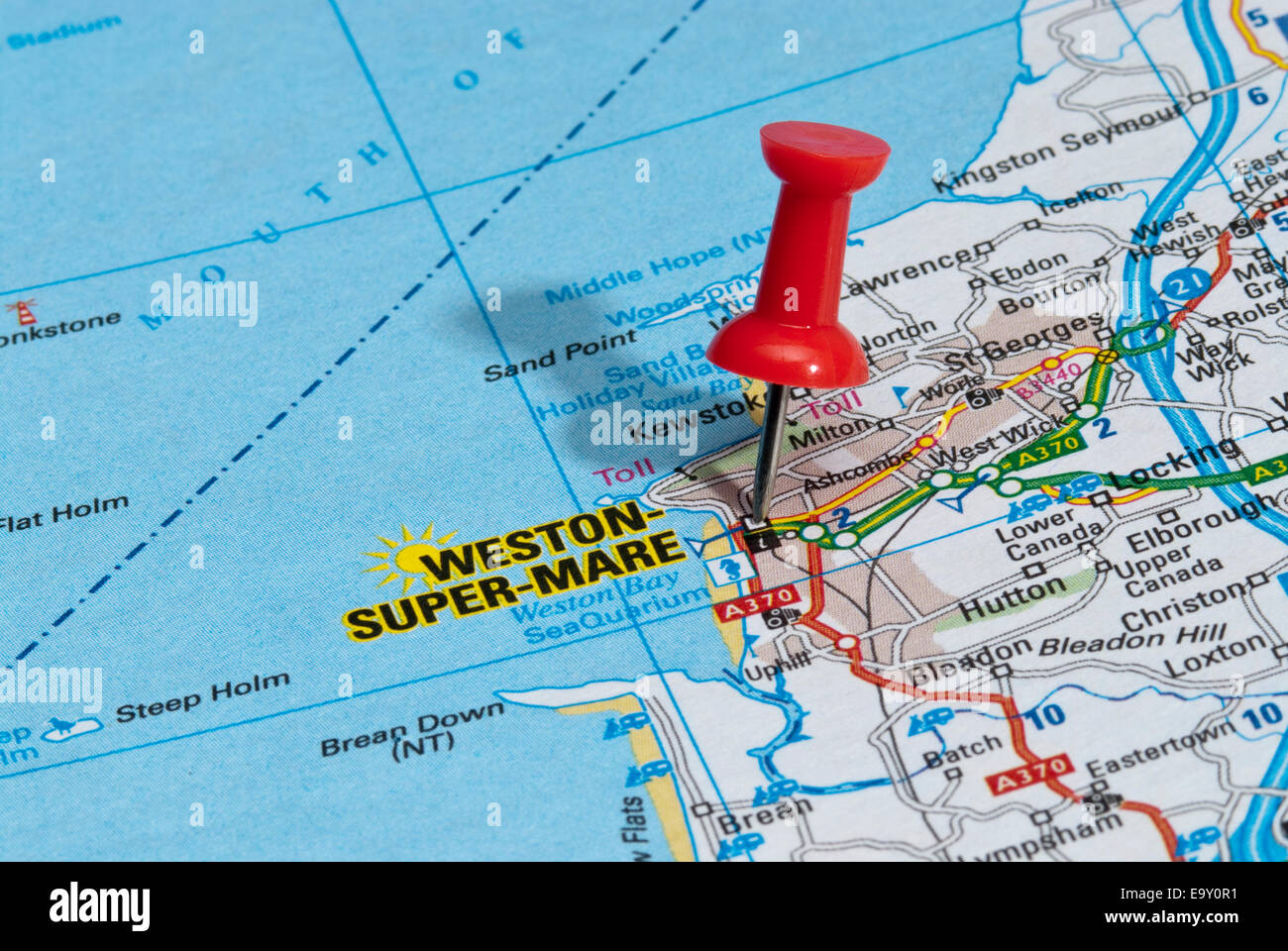 Weston Road Stock Photos Images Alamy Wiring Diagram Red Map Pin In Pointing To City Of Super Mare