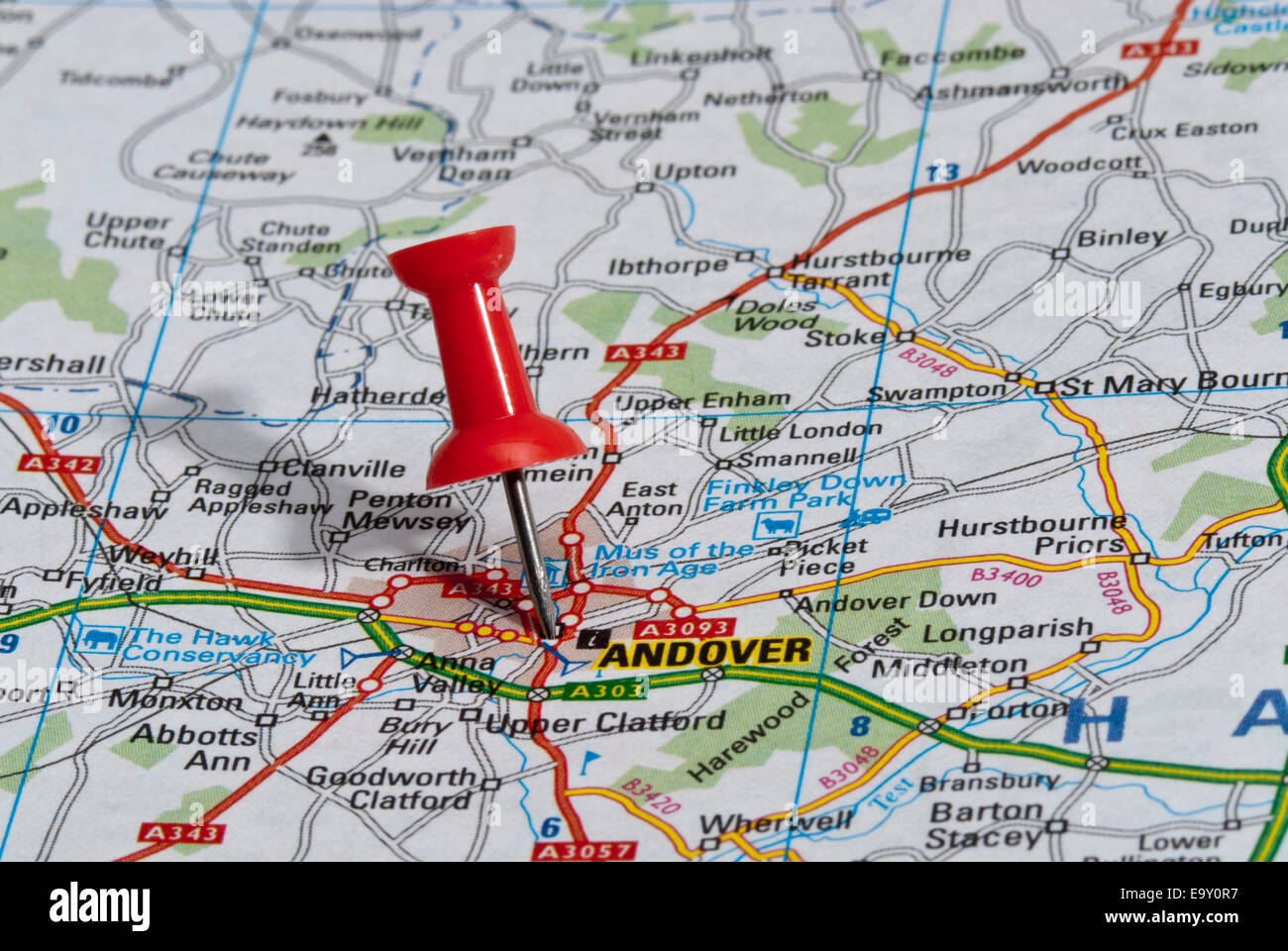 red map pin in road map pointing to city of Andover - Stock Image